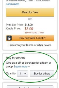 screen capture of the Amazon functionality to buy an e-book as a gift.
